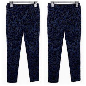 Forever 21 Pants - Forever 21 Dark Blue w/Black Floral Print Size Sma